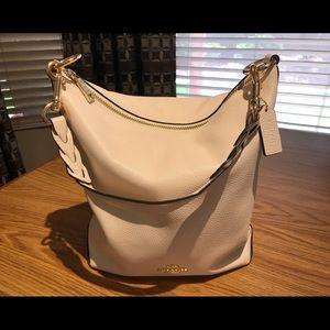 Coach Abby Chalk Pebble Leather Convert Duffle Bag